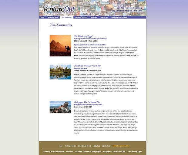 Travel website design 2