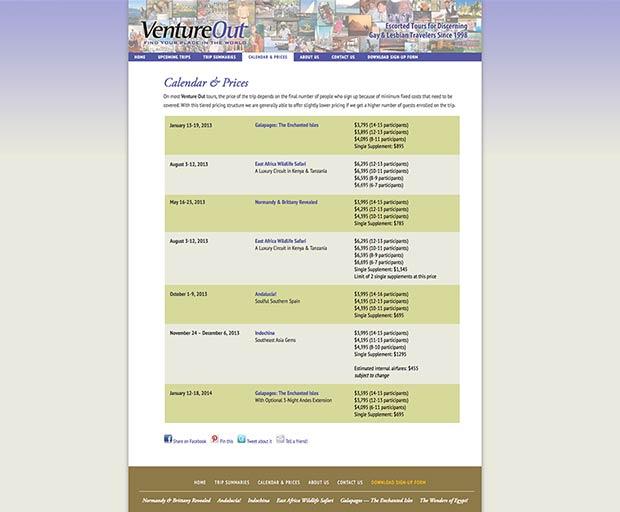 Travel website design 4